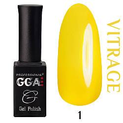 Витражный гель лак GGA Professional 01 Желтый
