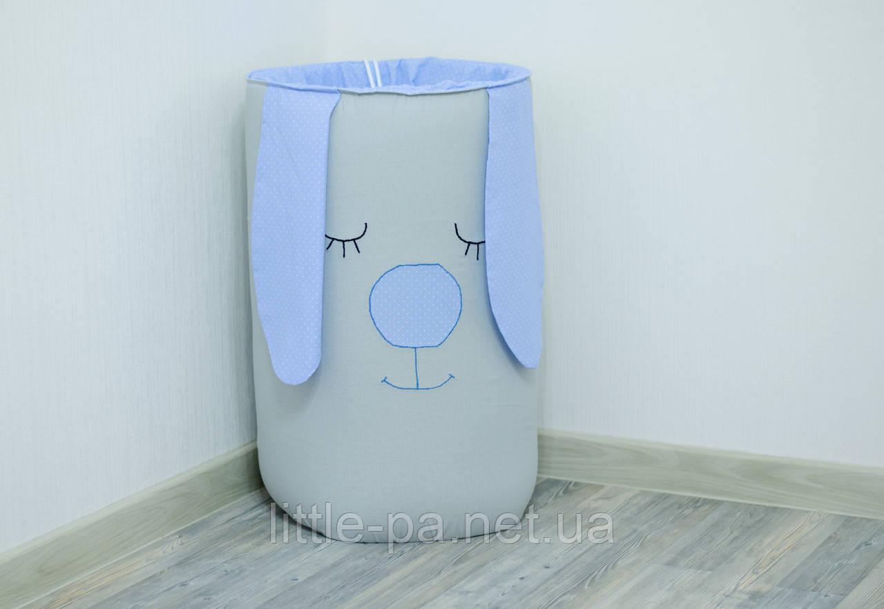Вместительная корзина для игрушек в детскую «Голубой зайка»
