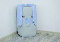 Вместительная корзина для игрушек в детскую «Голубой зайка», фото 1