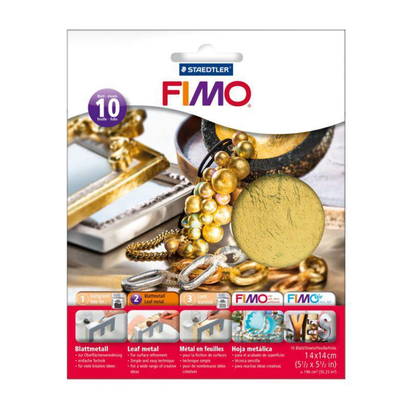 Металлическая фольга, золотая, 10 листов, 14*14см, Fimo, Staedtler, 878111