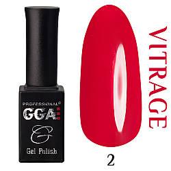 Витражный гель лак GGA Professional 02 Красный