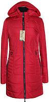 Пальто стеганное демисезонное женское (42-58)  ЛД 91 красный