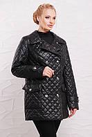Стёганная куртка на пуговицах модель 207,  6 расцветок ( 50-64) чёрный