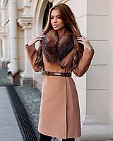 Роскошное пальто с меховым воротником, индпошив