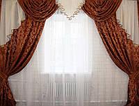 Готовый комплект шторы и ламбрекен для гостинной