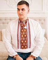 Вишита сорочка (білий льон) Ексклюзив