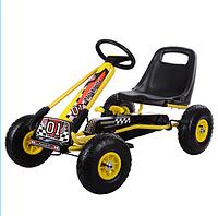 Детская педальная машина веломобиль Карт M 0645-6 желтый ***