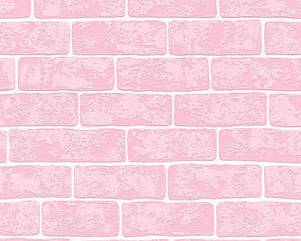 Обои с яркими розовыми кирпичами, моющиеся, трудновоспламеняемые 359182.