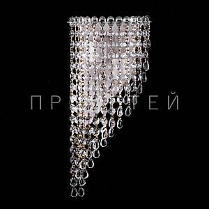 Хрустальная бра на 2 лампочки (золотая патина). P5-B0133/2W/WT+FG