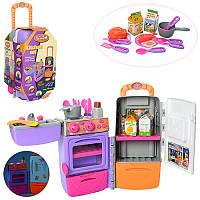 Детская кухня чемодан на колесах, плита, духовка, посуда, продукты, звук, свет, 9911