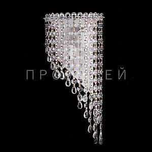 Хрустальная бра на 2 лампочки (золотая патина). P5-B0134/2W/WT+FG