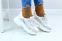 Кроссовки женские, белые, из плотного текстиля, с вставками из натуральной кожи и замши