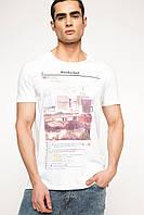 Белая мужская футболка De Facto / Де Факто с надписью и картинкой на груди, фото 1