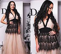 Нежное платье в пол из фатина c французским кружевом-ресничка