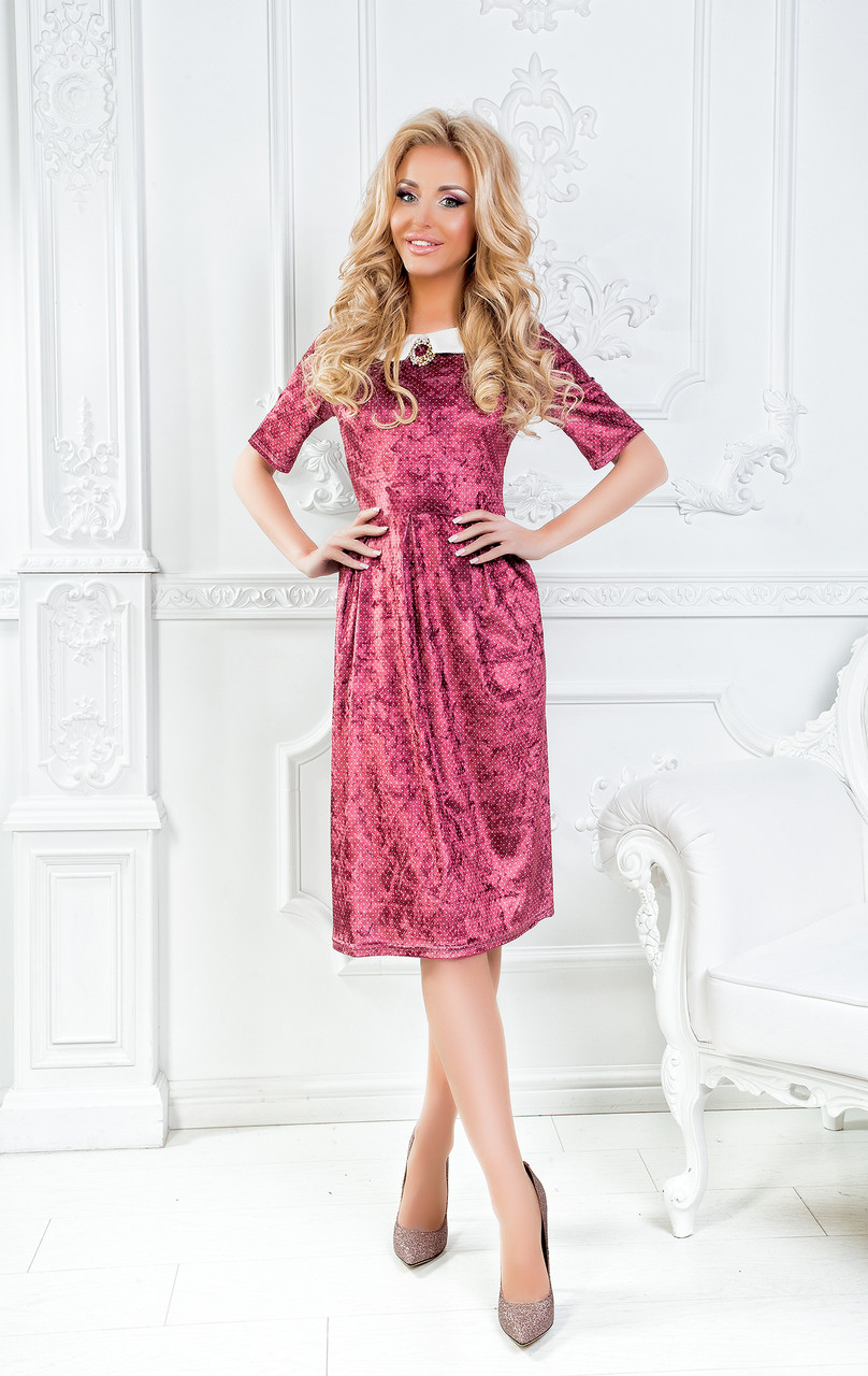 Платье Бархат, Отделка Костюмная Ткань Бордовый — в Категории