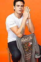 Белая мужская футболка De Facto / Де Факто с серым ободком на горловине, фото 1