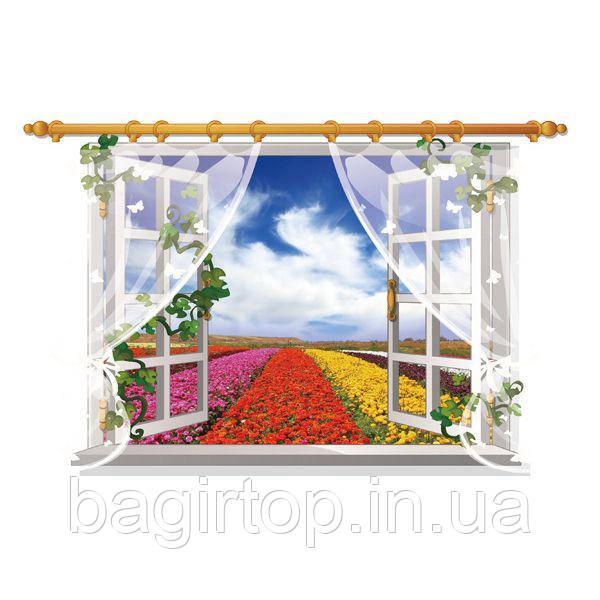 Интерьерная наклейка на стену  Окно с видом на цветущее поле