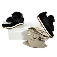 Кроссовки с язычком меха Brunello Cucinelli - Черные