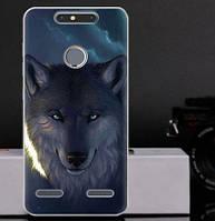 Силиконовый чехол бампер для ZTE Blade V8 Lite с картинкой Волк