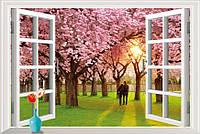 Интерьерная наклейка на стену Пара в саду сакуры