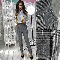 Модные  женские брюки в клетку серые
