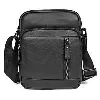 Черная мужская кожаная сумка на плечо, фото 1