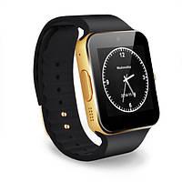 Умные наручные часы Smart Watch GT08 золотистые с черным ремешком