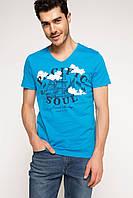 Голубая мужская футболка De Facto / Де Факто с рисунком и надписью на груди