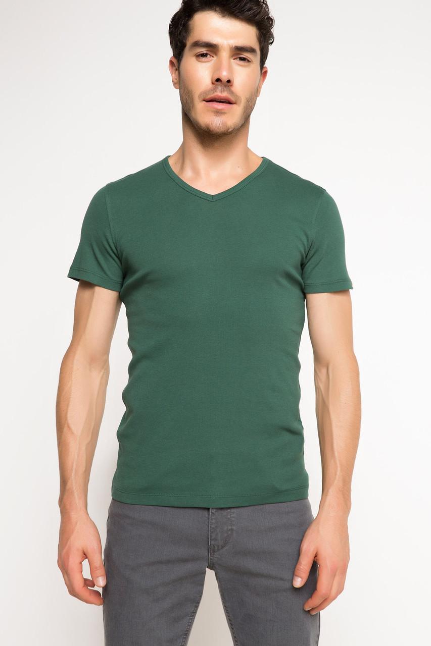Зеленая мужская футболка De Facto / Де Факто