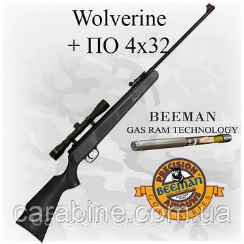 Пневматическая винтовка Beeman Wolverine Gas Ram с газовой пружиной и ОП4X32 (Биман Вулверин)