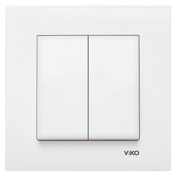 Выключатель двухклавишный VIKO Karre Белый 90960002