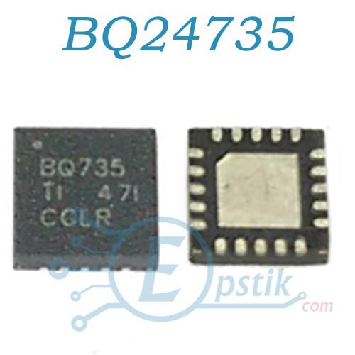 BQ24735, (BQ735), контроллер питания батареи со встроенным транзистором, VQFN20