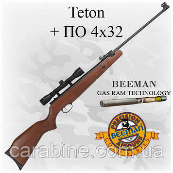 Пневматическая винтовка Beeman Teton Gas Ram с газовой пружиной и ОП 4х32 (Биман Тетон)