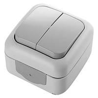 Выключатель 2-х клавишный VIKO Palmiye серый 90555502