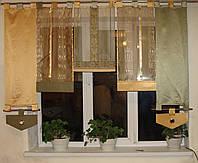Японские занавески Полоски зелень и золото на петлях, фото 1