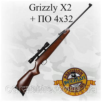 Пневматическая винтовка Beeman Grizzly X2 с оптикой 4Х32 (Биман Гризли)