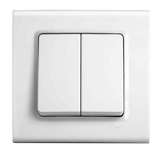 Выключатель двухклавишный VIKO Linnera Белый 90400002