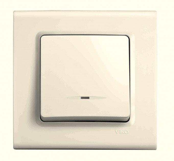 Выключатель с подсветкой одноклавишный VIKO Linnera Крем 90401019