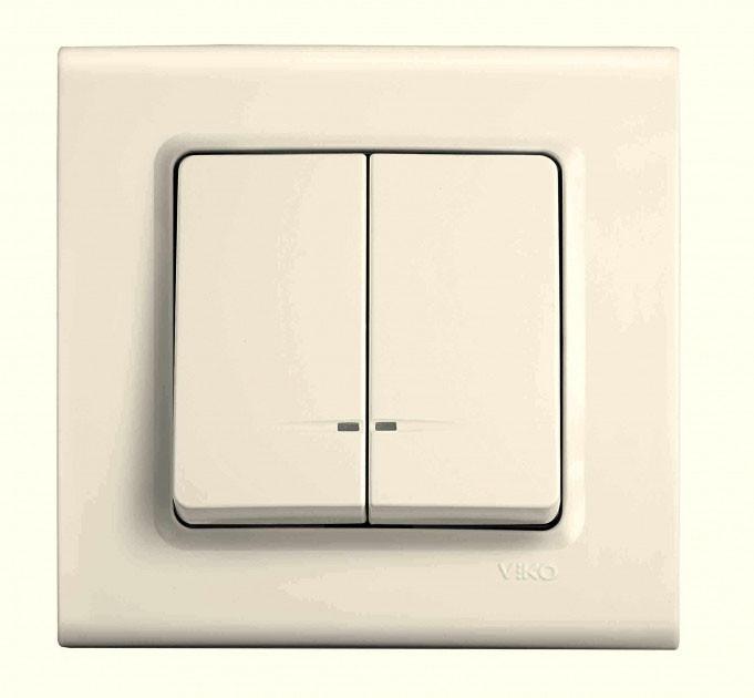Выключатель с подсветкой двухклавишный VIKO Linnera Крем 90401050