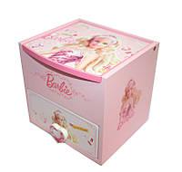 """Шкатулка  детская """"Барби"""" розовая, деревянная Размер: 11,5-11-11 см., фото 1"""