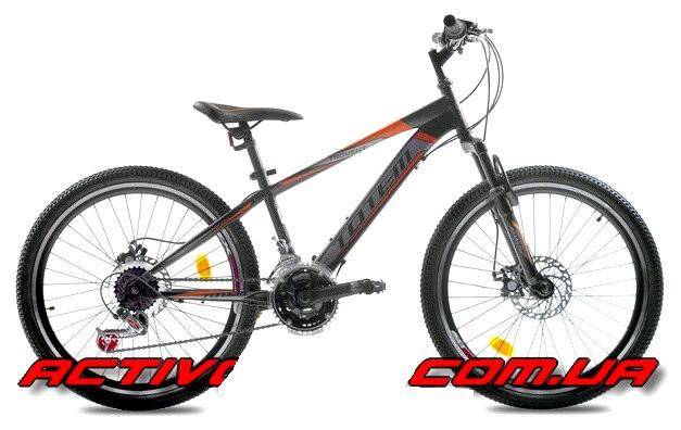 """Підлітковий велосипед TOTEM MTB Thought 24"""" 13"""" Чорний/Помаранчевий"""