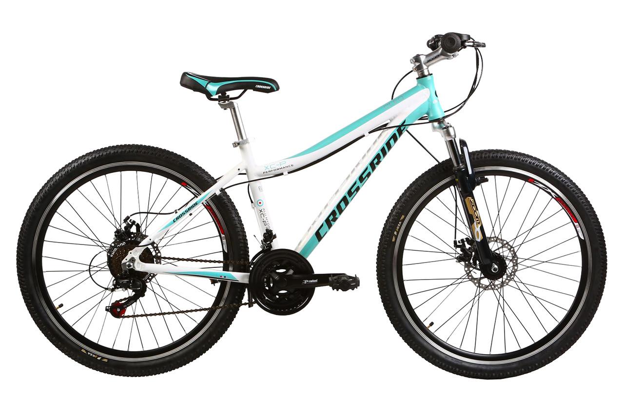 """Подростковый велосипед CROSSRIDE CLEO MTB 26"""" алюминиевый, Бело-бирюзовый"""