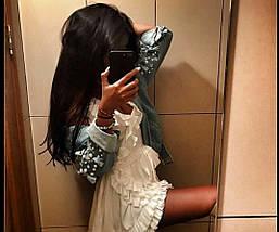 Пышное платье-мини из двойного шифона с рюшами, фото 3