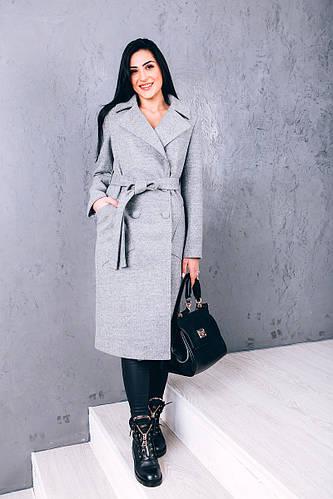 Купить демисезонное пальто из серой шерсти Д271
