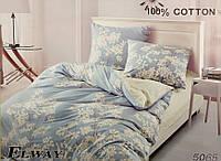 Сатиновое постельное белье евро ELWAY 5065