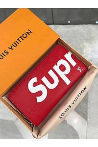 Кошелек Louis Vuitton Supreme красный в коробке