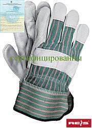 Защитные перчатки усиленные яловой кожей Reis Польша (перчатки кожаные рабочие) RBCMPAS MCJS