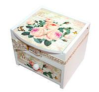 """Шкатулка """"Роза"""" белая, деревянная Размер: 11-10,5-9,5  см., фото 1"""