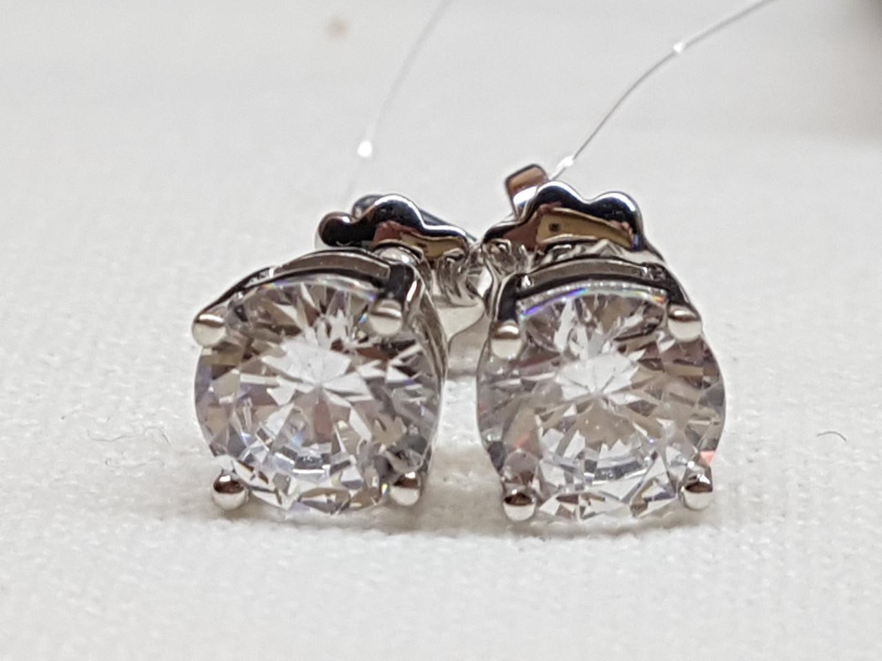 Серебряные пуссеты фианитами. Артикул 902-00263