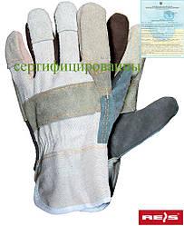 Перчатки рабочие усиленные разноцветной яловой кожей Reis Польша RBK MC